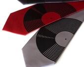 Vinyl Record silk necktie. Silkscreened men's tie. Black record album print.