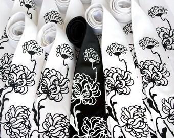 12 wedding silk neckties, groomsmen group package discount, matching screenprinted ties.