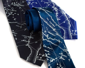 Constellation necktie. Milky Way galaxy, star chart tie. Men's SILK tie. Ice blue print. Your choice of tie colors.