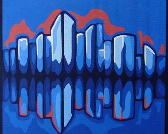 ORIGINAL Modern Cityscape Painting Blue and Orange Acrylic On Paper Skyscrapper Buildings Fine Art Urban Pop Art Design