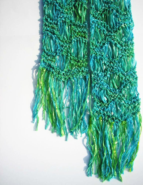 Lacy ribbon scarf, summer wave drop stitch, Colinette Giotto yarn, Lagoon Ripple, blue green, fringe, handknitted
