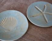 Handmade Nautical Stoneware Tapas Dish Set with Starfish and Seashell Motif in Green