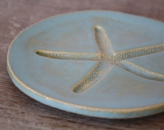 Handmade Dish Tapas Dish Dessert Dish Appetizer Plate Starfish Nautical Beach House Beach Decor MADE TO ORDER
