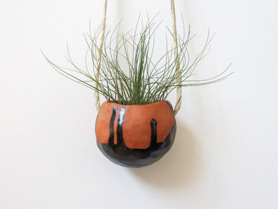 SALE - Summer Home Decor Terracotta hanging ceramic pinch pot with black drip glaze - perfect for air plant, succulent or cactus
