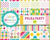 80% off Digital Scrapbook Papers Polka Party Polka Dots, Chevron, Stripes Commerical Use, 1 Dollar, Commercial Use