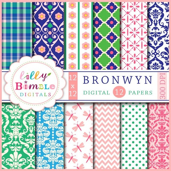 80% off Bronwyn Digital paper, dragonflies, damask, green, pink, blue, salmon pink, Instant Download, on sale, Lilly Bimble
