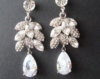 Vintage Wedding Bridal Earrings, Rhinestone Leaves, Silver Leaf Crystal Earrings, Swarovski Pearl Earrings,Vintage Wedding Earrings, EVA