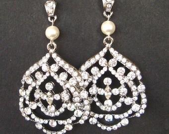 Art Deco Wedding Earrings, Chandelier Bridal Earrings, Pearl & Crystal Wedding Jewelry, Crystal Bridal Jewelry, VERONA