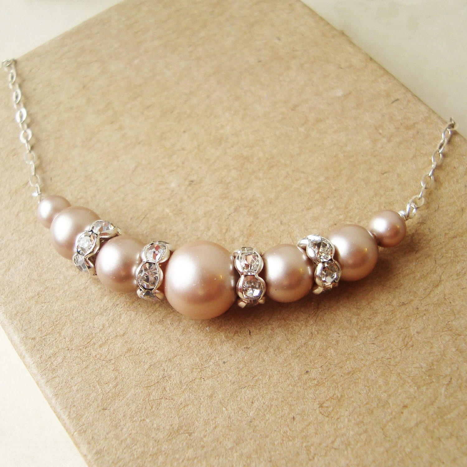 Champagne Pearl Necklace Champagne Bridal Necklace Wedding