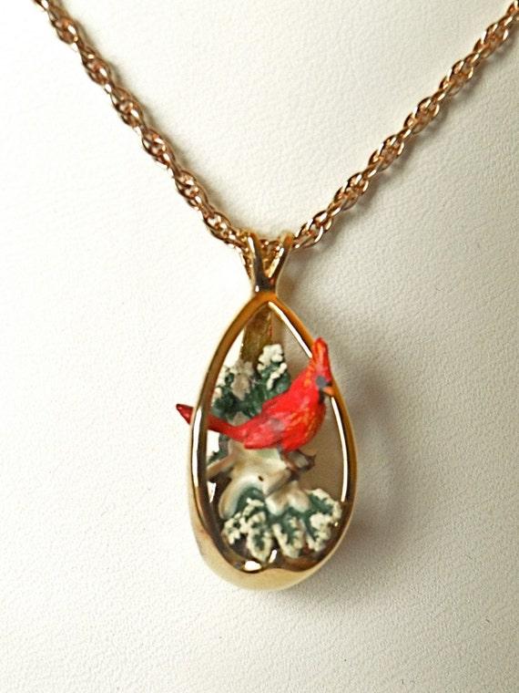vintage winter cardinal bird pendant by