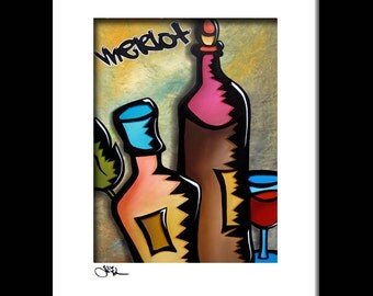 Abstract art wine painting Modern pop print Contemporary bar decor by Fidostudio