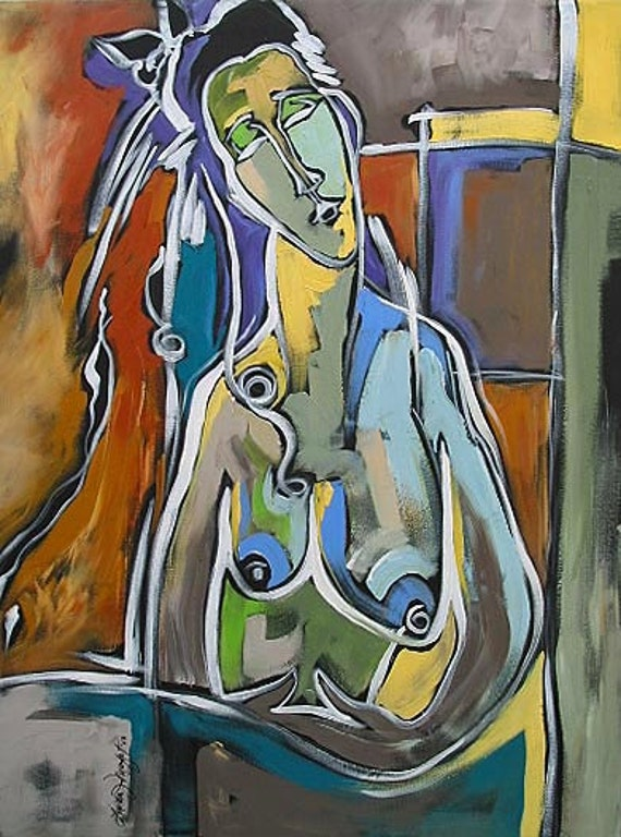 """PRINT of My Abstract Nude Acrylic Painting 8.5""""x11"""" by Linda Monfort"""
