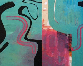 Original Paintings Abstract Acrylic Mixed Media Art Diptych by Aisyah Ang Size 20x40 inches