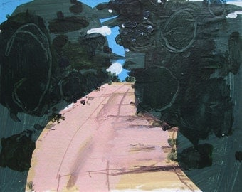 Toward the Forest, Original Landscape Collage Painting on Paper
