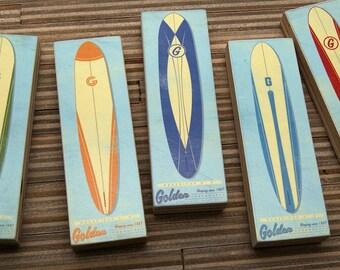 "Surf Art- 2"" x 6"" Art Blocks Set of 5 Longboard Surfboard Decor- Surfing Gifts for Dad- Summer Art for Men- Gift for Him- Gift for Men"