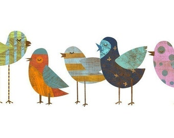 """Whimsical Bird Art Print- Flock No. 1 Collage Print 8"""" x 18"""" Bird Family Print Picture of Birds- Mother's Day Gift for Mom- Gifts Girl Decor"""