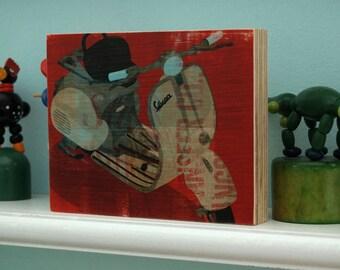 "Coworker Gift- Vespa Art Block- Art Gift For Dad- Gifts for Men- Vespa Scooter No. 1- 4"" x 5"" - Husband Gift- Mounted Vespa Print- Kid Decor"