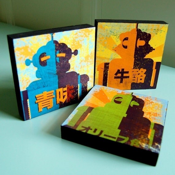 "Retro Robot Art- Minibot Series Art Blocks- Set of 3- 4"" x 4"" Robot Prints- Robot Decor- Gift for Dad- Gift for Boyfriend- Gift for Brother"