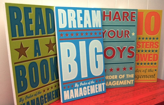 "Kids Room Wall Art- 4 Print Set- By Order of the Management Art Block- Pick the Prints- 10.8"" x 18""- Kids Art Prints- Large Prints Box Signs"