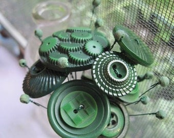 Button Flower Bouquet...Posy Deep Green Steampunk /g5