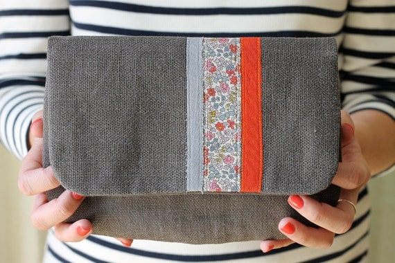 NEW Autumn Stripe Clutch, Gray Linen, Liberty of London Fabric, Applique