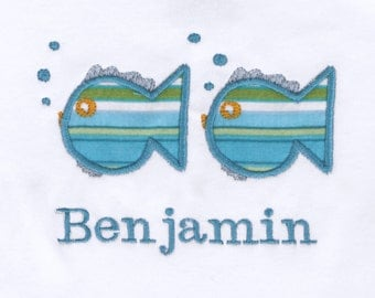 Personalized Bodysuit or Toddler Shirt Fish Applique for Baby Boys