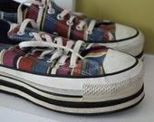 Plaid Converse Platform Sneakers.  Size 7.
