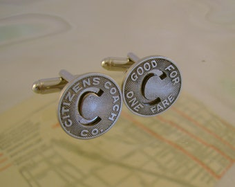 Natural State - Authentic 1950s Little Rock Arkansas Transit Tokens Cufflinks, Man Gift, Mens Gift, Groomsmans Gift, Wedding Gift