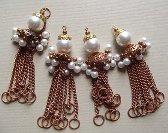 Vintage copper and pearl tassel charms