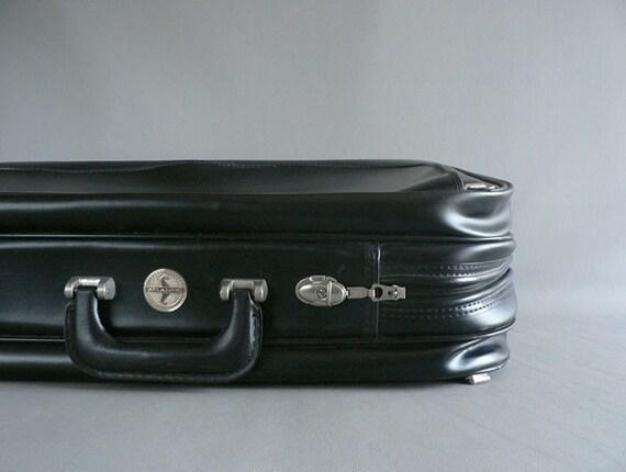 Vintage1950s Black Faux Leather  Suitcase