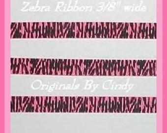 Hot Pink Black Zebra Grosgrain Ribbon Narrow Korker Size Skinny 6 y 3/8 wide