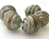 Metallic Aged COPPER GREEN Handmade Lampwork Glass Bead Caps - TANERES