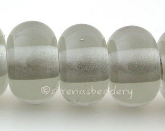 Lampwork Spacer Beads 5 TRANSPARENT GREY Glossy & Matte Handmade Glass Donut Rondelle