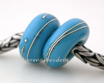 European Charm Lampwork Glass Beads DARK TURQUOISE Blue Silver Wrap Pair - TANERES