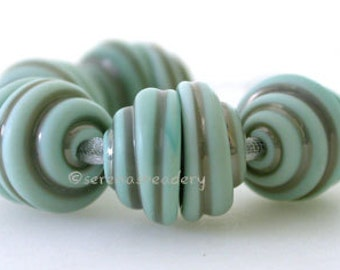 Lampwork Glass Bead Caps 10 Tumbled COPPER GREEN Handmade - TANERES mint