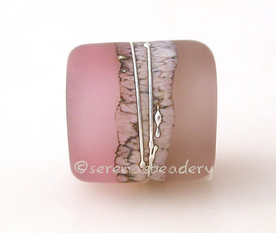 European Charm CHAMPAGNE SEPIA matte Handmade Lampwork Glass Bead - taneres pink brown