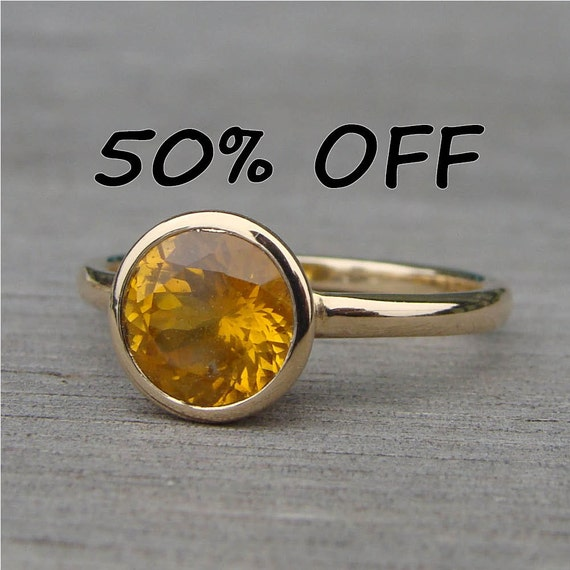 CLEARANCE - Fair Trade Malawi Yellow Sapphire and Recycled 14k Yellow Gold Ring, Size 6.5