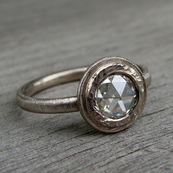 CLEARANCE - Low Profile Rose Cut Moissanite and Recycled 14k Palladium White Gold Ring - Alternative Wedding or Engagement - size 5.75