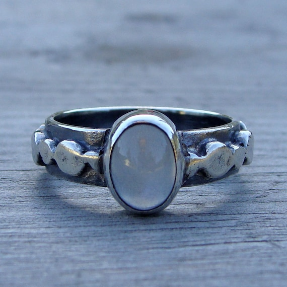 CLEARANCE - Ethically Sourced Moonstone and Recycled Sterling Silver Ring, Size 6.5