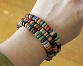 Colorful Wood Disc Multi strand Bracelet Beautiful Autumn Fall Colors Warm Rich Wood Looks like Thanksgiving Indian Corn