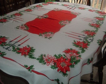 Vintage Tablecloth Christmas Poinsettas Candles Beautiful Vibrant Colors 49 x 62 inches