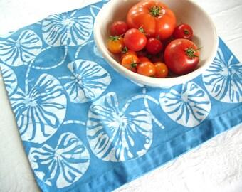 sky blue lily pad linen towel
