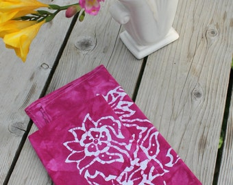 pair of magenta batik dinner napkins