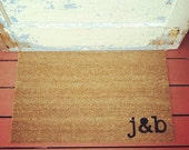 YOUR Custom Initials Where You Hang Your Hat Doormat - Natural CoCo Fiber Modern Tagged Outdoor Doormat
