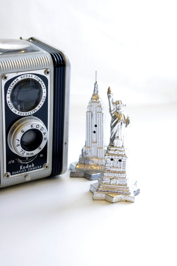 New York City Salt and Pepper Shakers - Metal Empire State Building and Statue of Liberty Souvenir Figurines