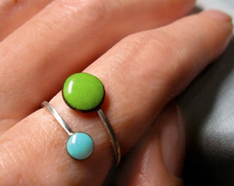 Orbit Enamel Ring, Lime Green and Sky Blue, Adjustable Size US 6-9, Kiln-fired Glass Enamel and Sterling Silver