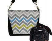 CLEARANCE Small Chevron Camera Bag Womens Padded Camera Bag Dslr Camera Bag MINI Slr Camera Bag Purse chevron blue gray chartreuse (RTS)
