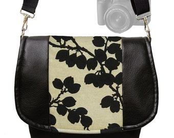 Dslr Camera Bag Leather Slr Camera Bag Purse VEGAN Leather Camera Case - Deluxe Floral Pods Black MTO