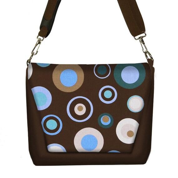 Digital SLR Camera Bag Dslr Camera Bag Purse Womens Camera Bag Case - Mod Dot Blue Brown - In Stock