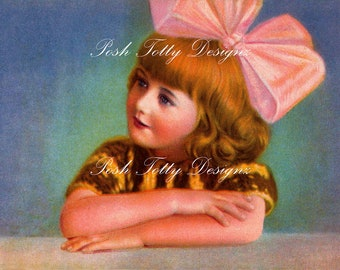 The Little Girl With The Bow Vintage Digital Download Greetings Card Image (285a)